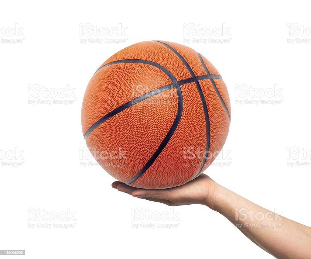 Hand with basketball ball isolated on white stock photo