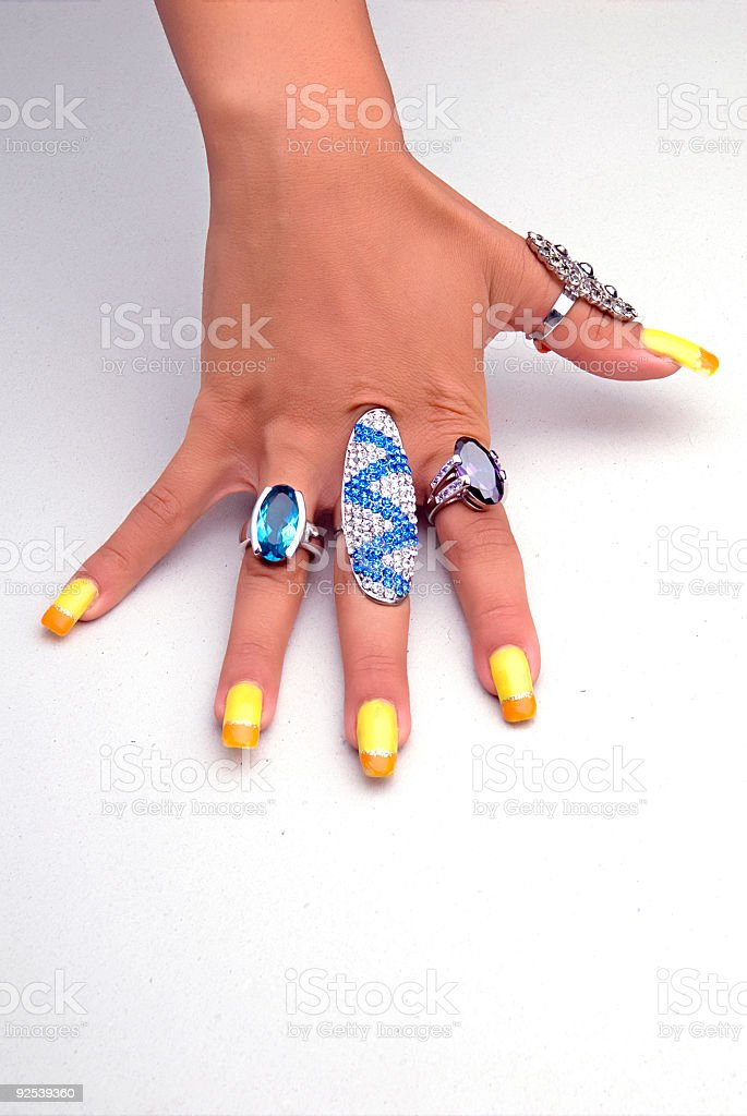 Hand with big rings royalty-free stock photo