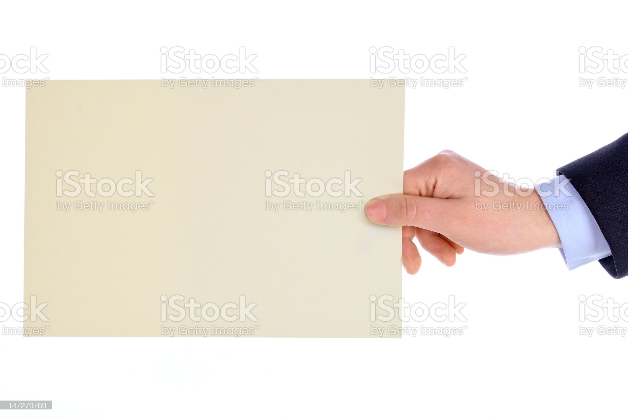 hand with blank card royalty-free stock photo