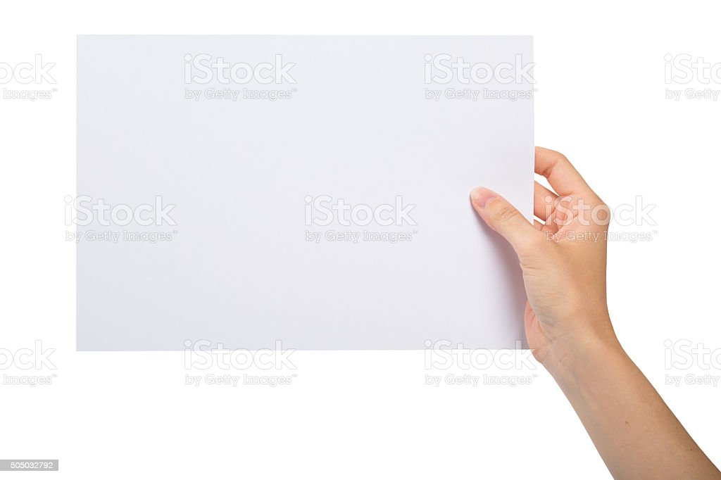 Hand with blank sheet of paper stock photo