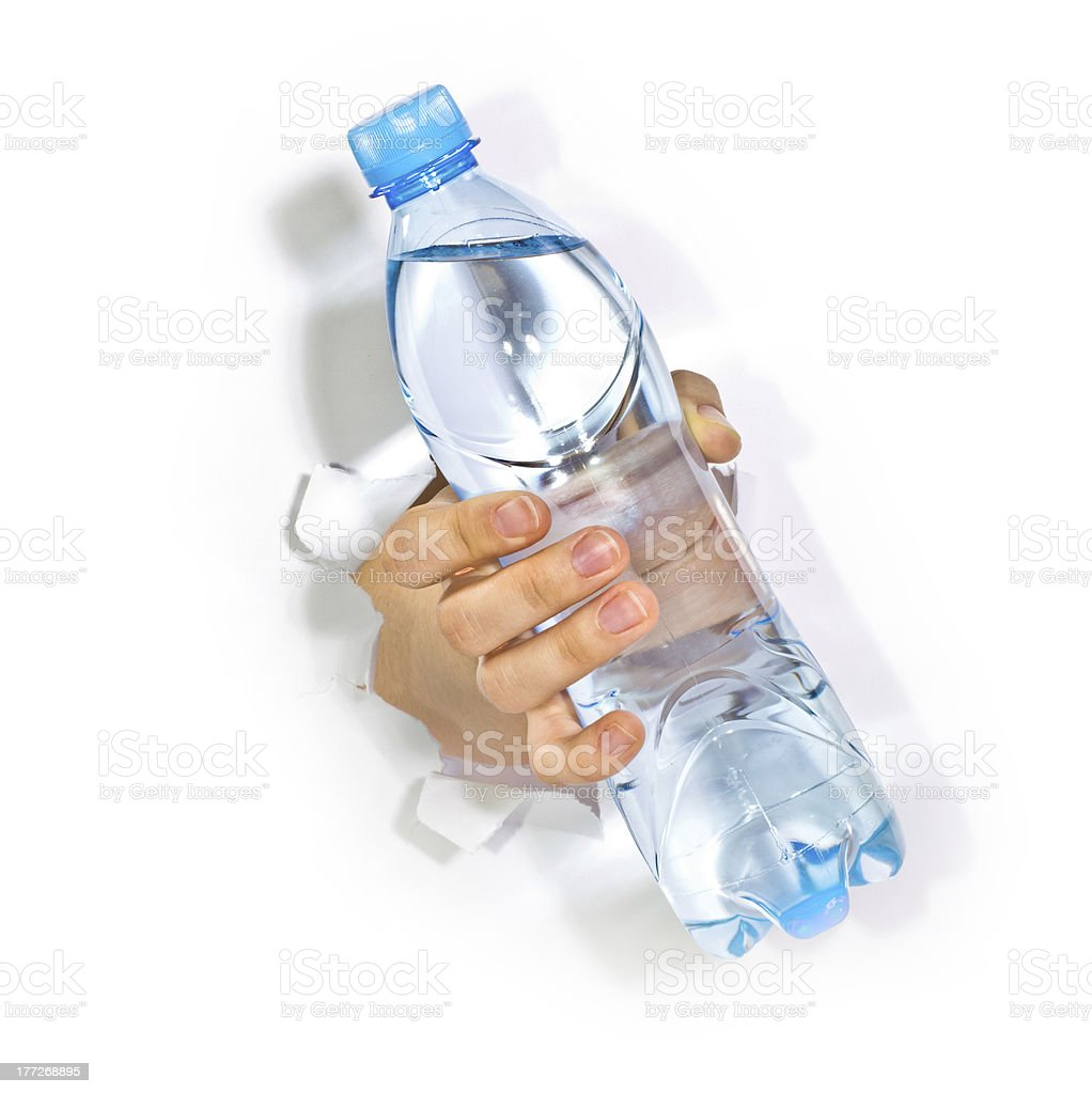 Hand with bottle of water royalty-free stock photo