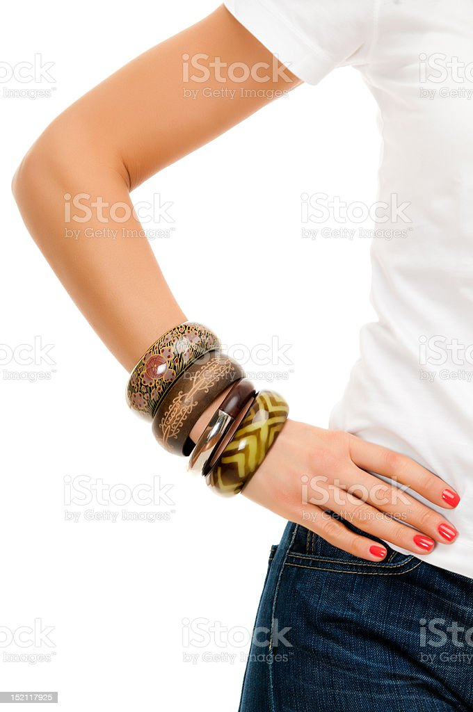 Hand with bracelets stock photo
