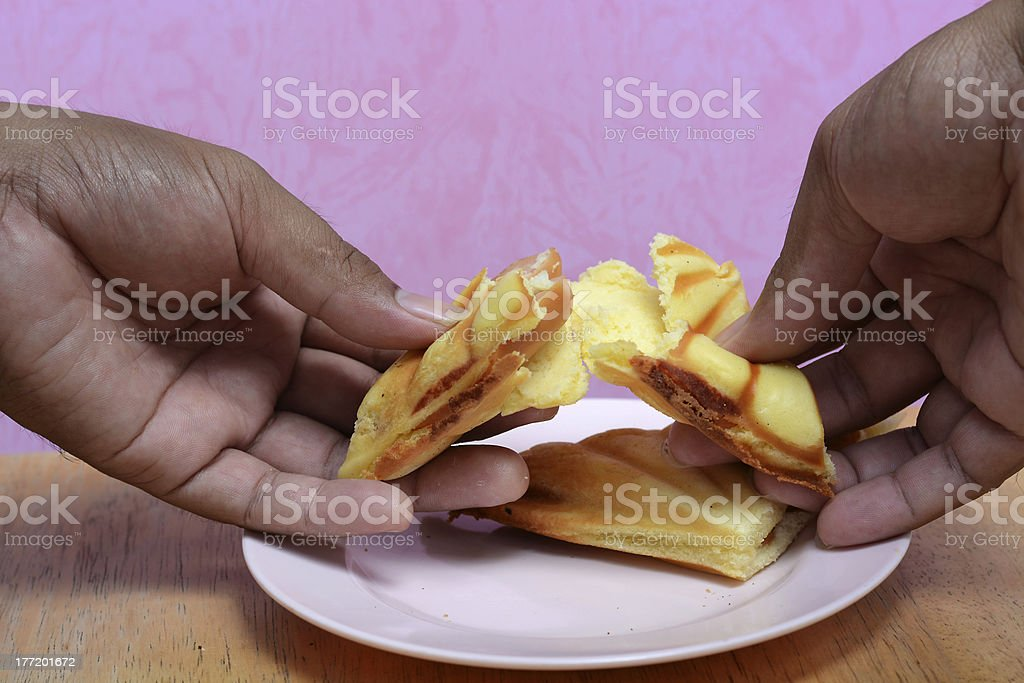 hand with bread Sausage in morning royalty-free stock photo