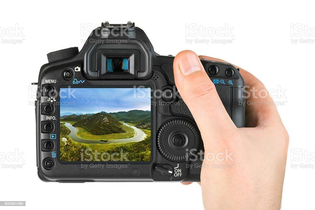 Hand with camera and Rijeka Crnojevica River - Montenegro image stock photo
