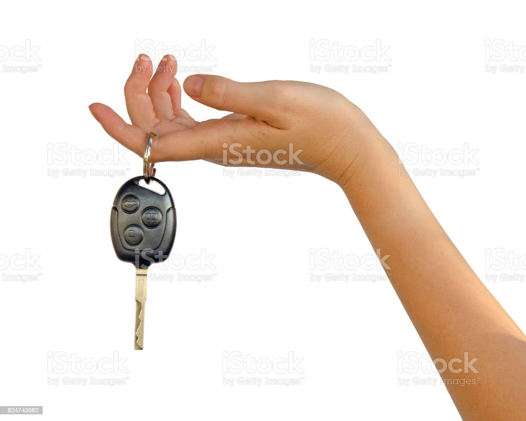 hand with car key stock photo