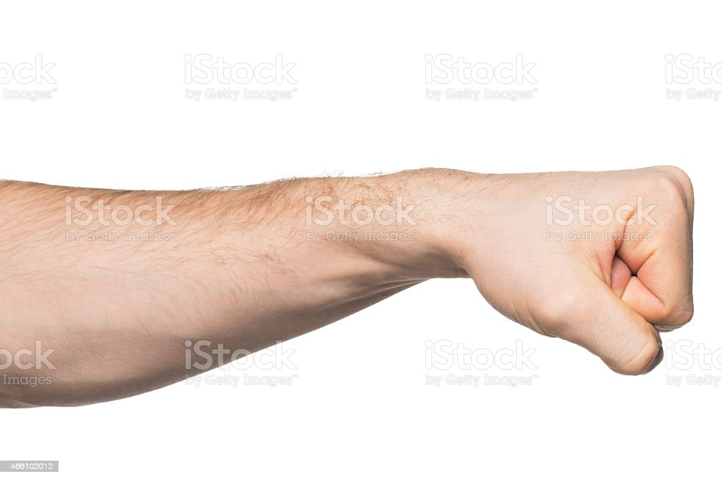 Hand with clenched a fist stock photo