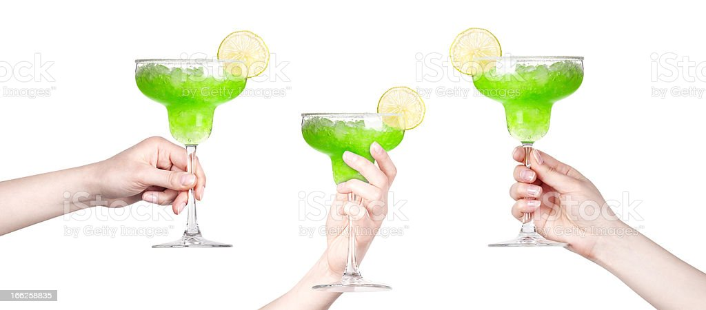 hand with cocktail making toast set royalty-free stock photo
