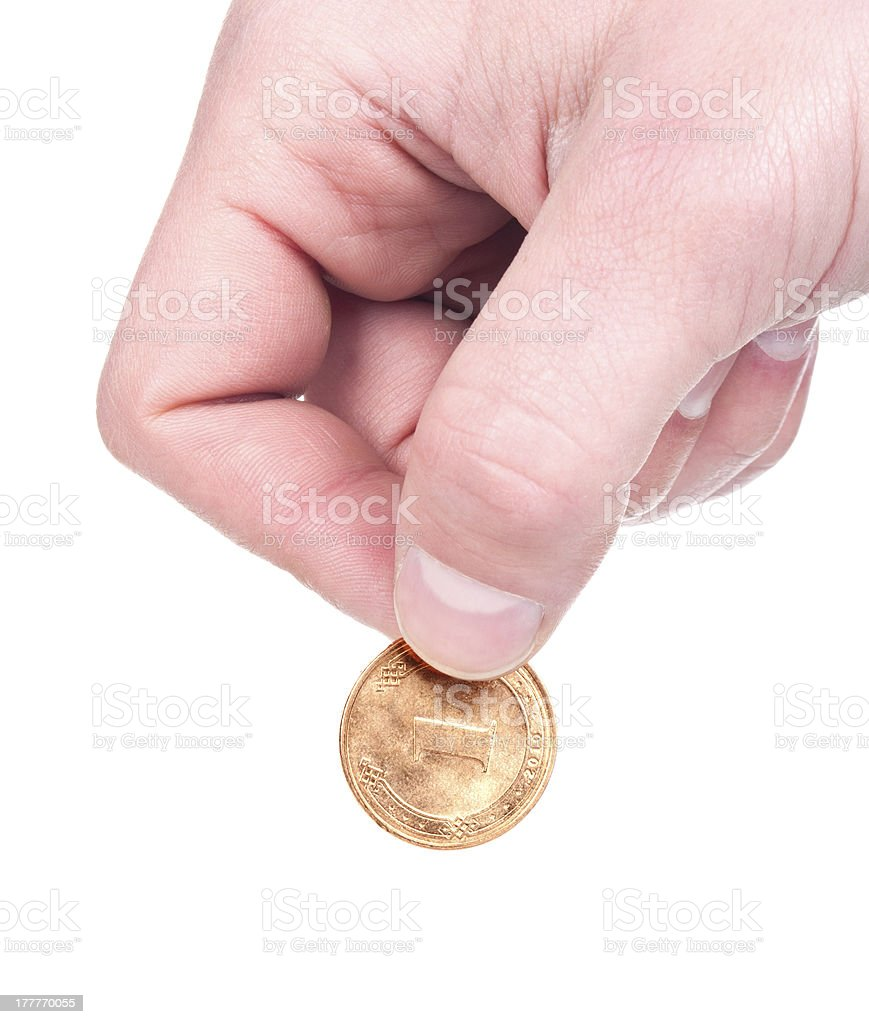 hand with coin stock photo