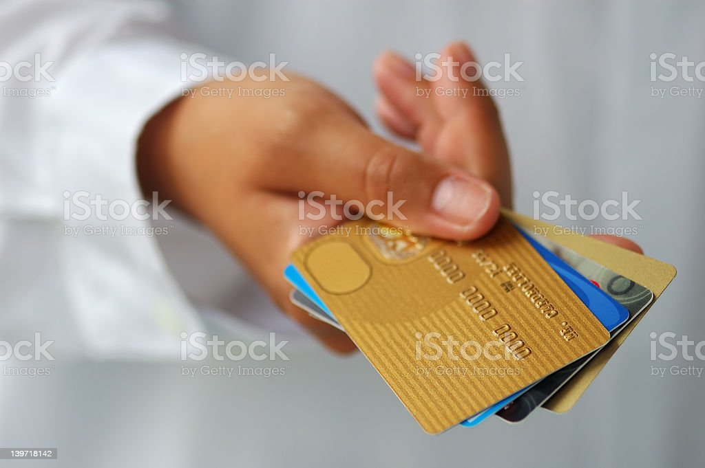 Hand With Credit Cards stock photo