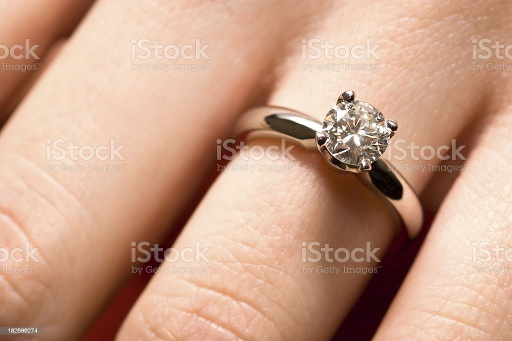 Hand with Diamond Ring royalty-free stock photo