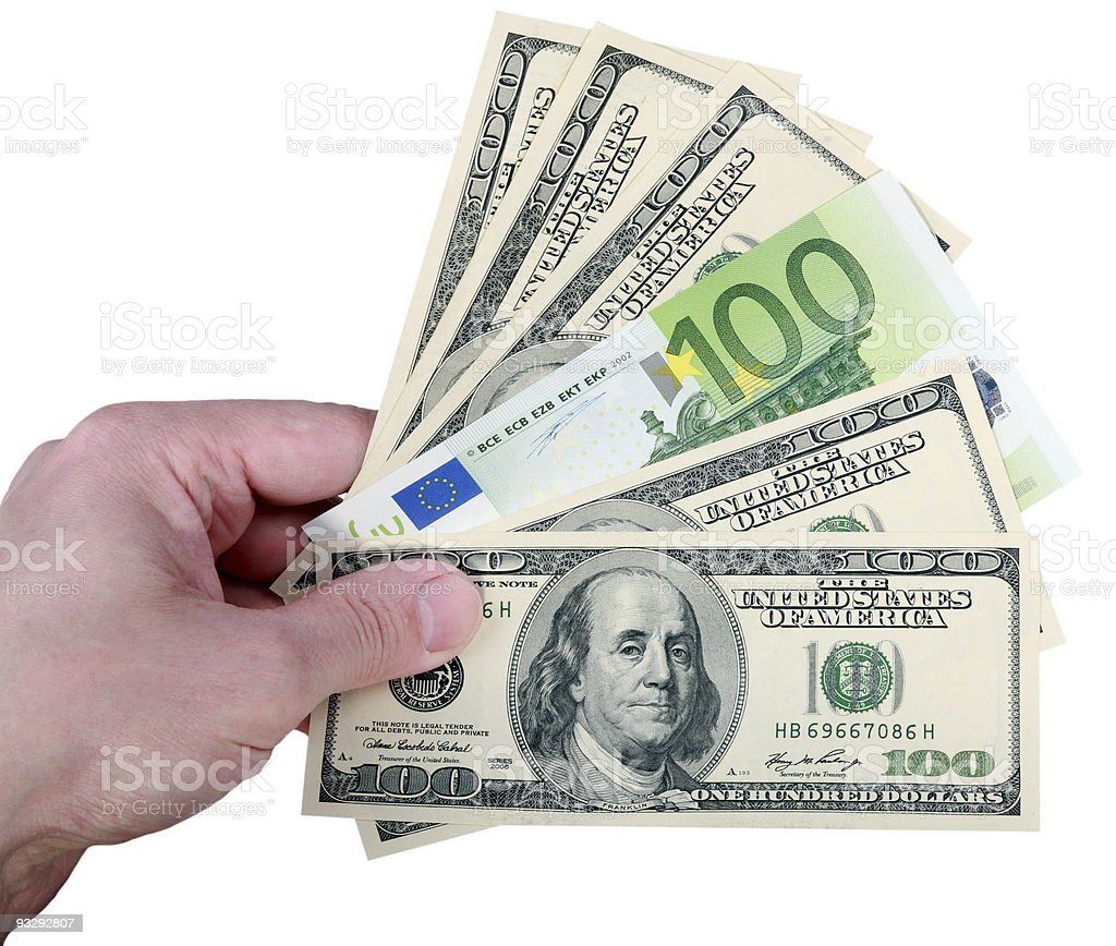 hand with dollar and euro on white background royalty-free stock photo