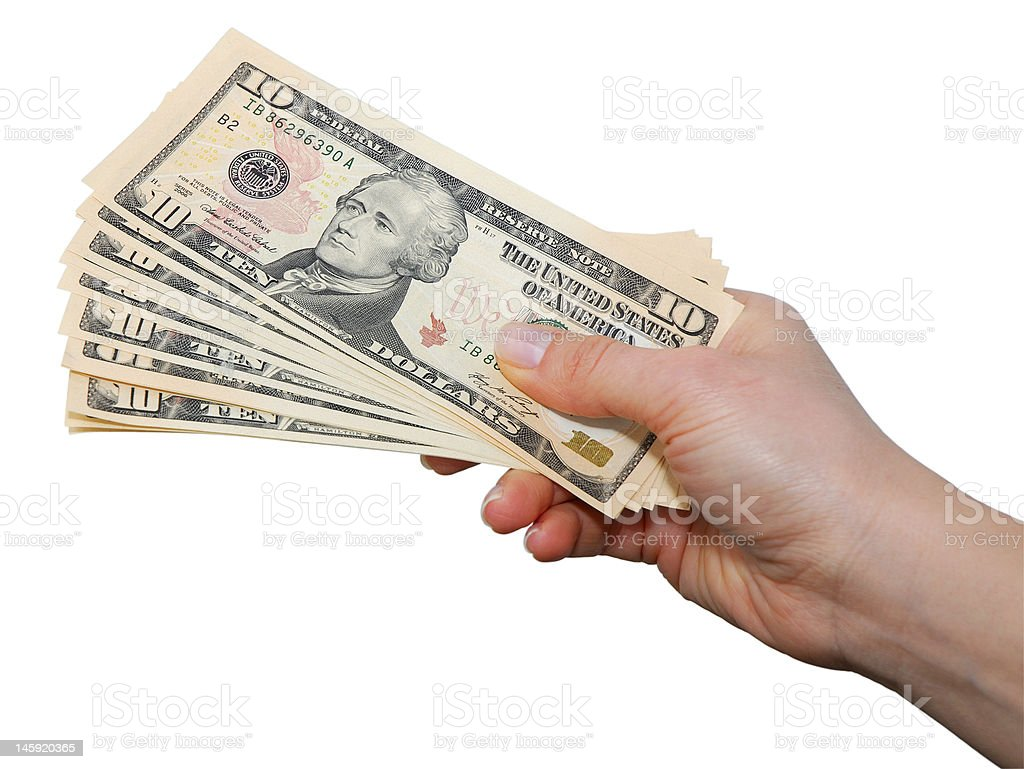Hand with dollar notes isolated over white stock photo
