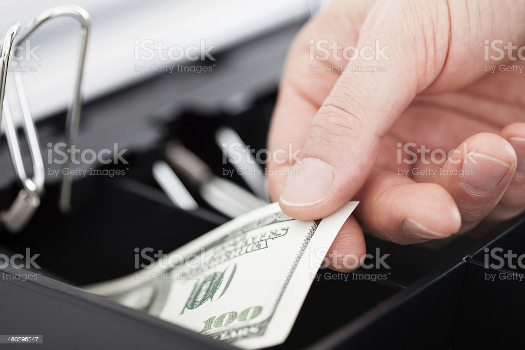 Hand With Dollar Notes stock photo