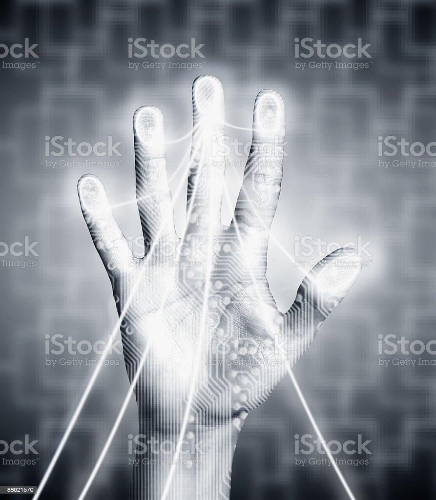 Hand with electricity streaming out royalty-free stock photo