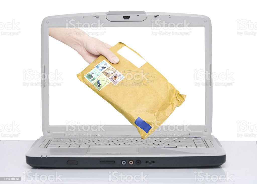 hand with envelope royalty-free stock photo