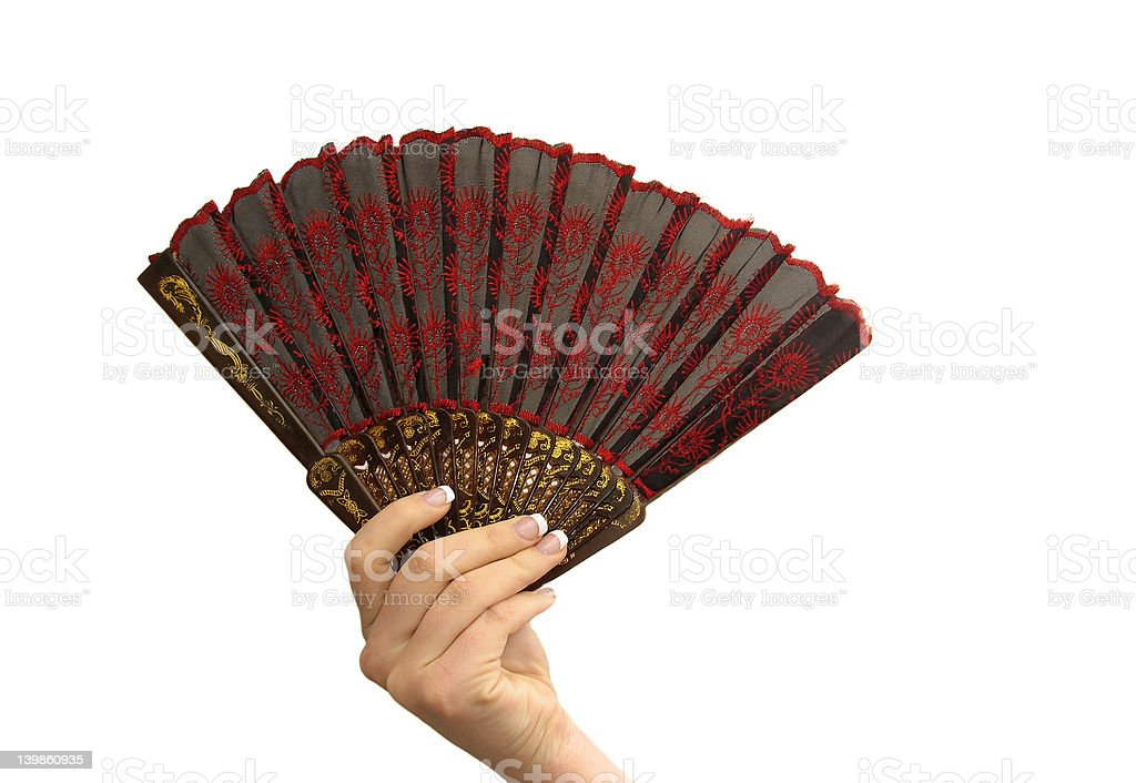 Hand with fan royalty-free stock photo