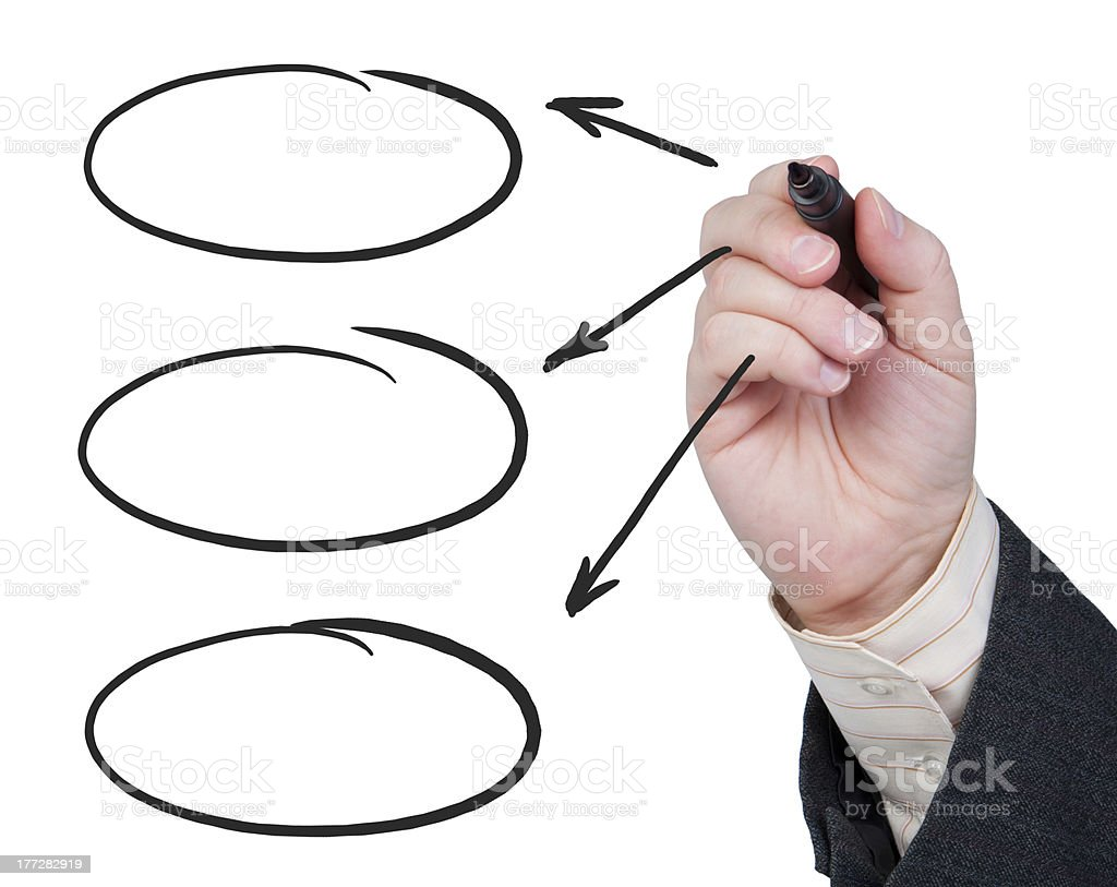 Hand with felt-tip pen drawing arrows. stock photo
