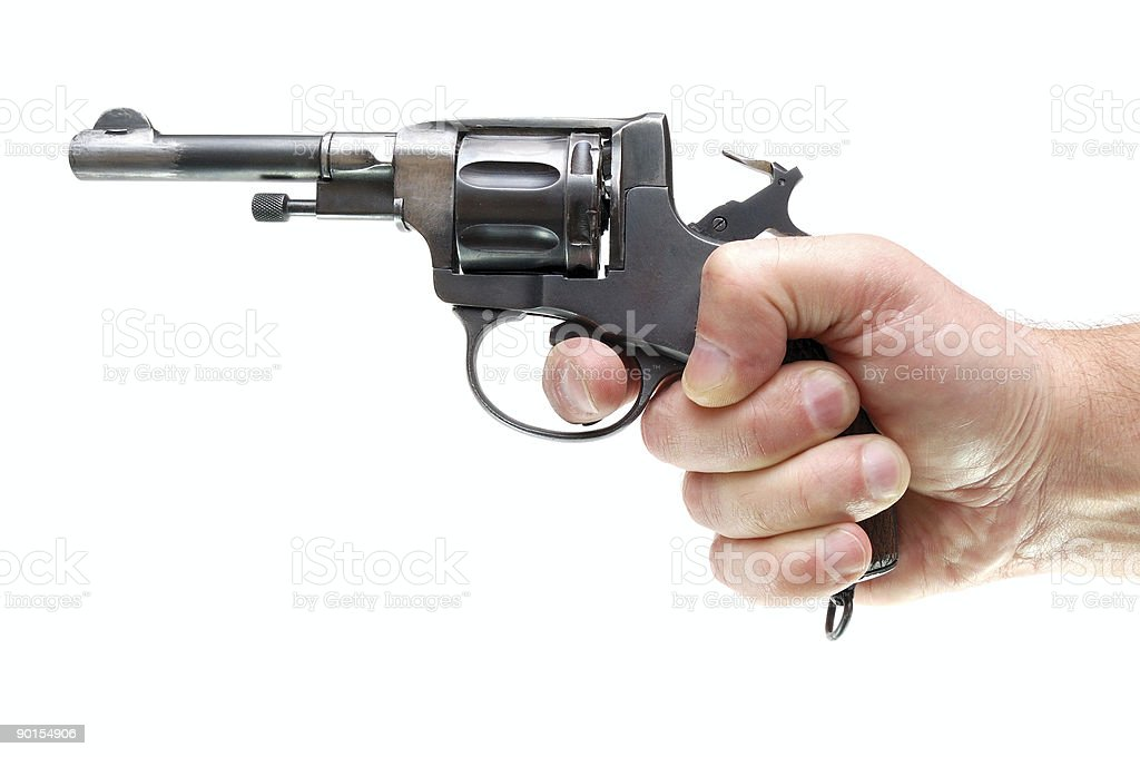 Hand with gun isolated over a white background royalty-free stock photo