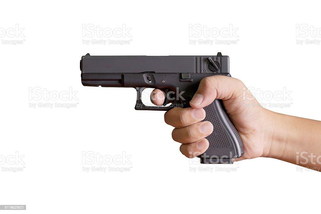 Hand with gun stock photo
