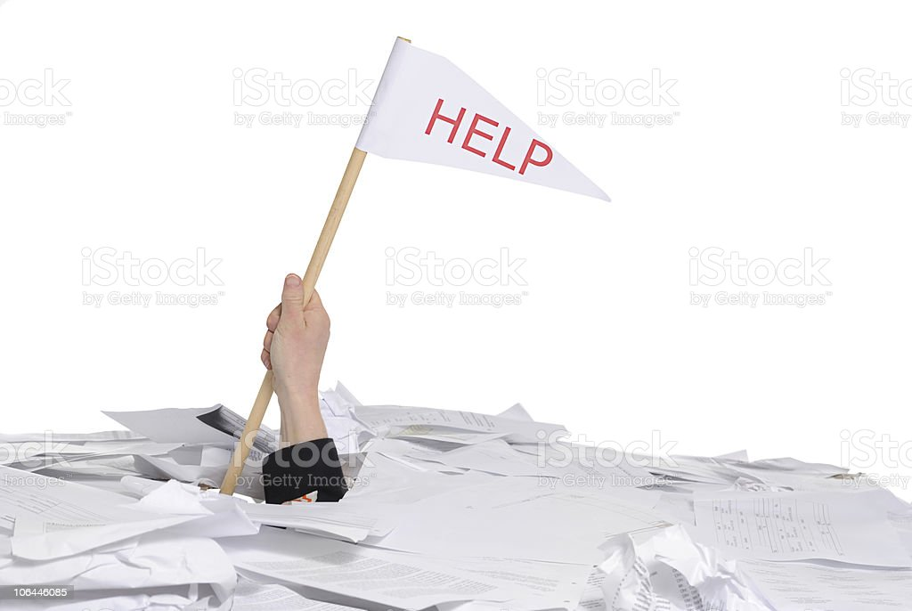 hand with help flag stock photo