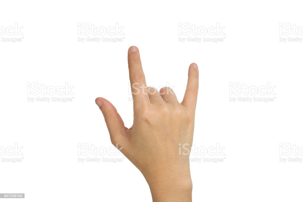 hand with I Love You sign stock photo