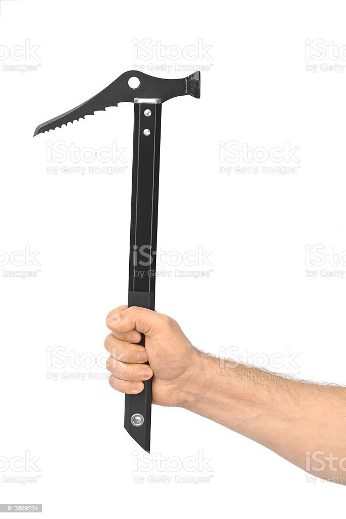 Hand with ice axe stock photo