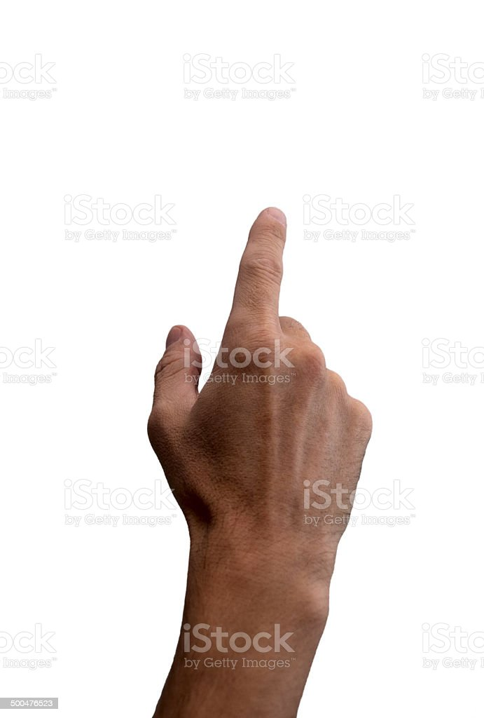 Hand with index finger, isolated on white background stock photo