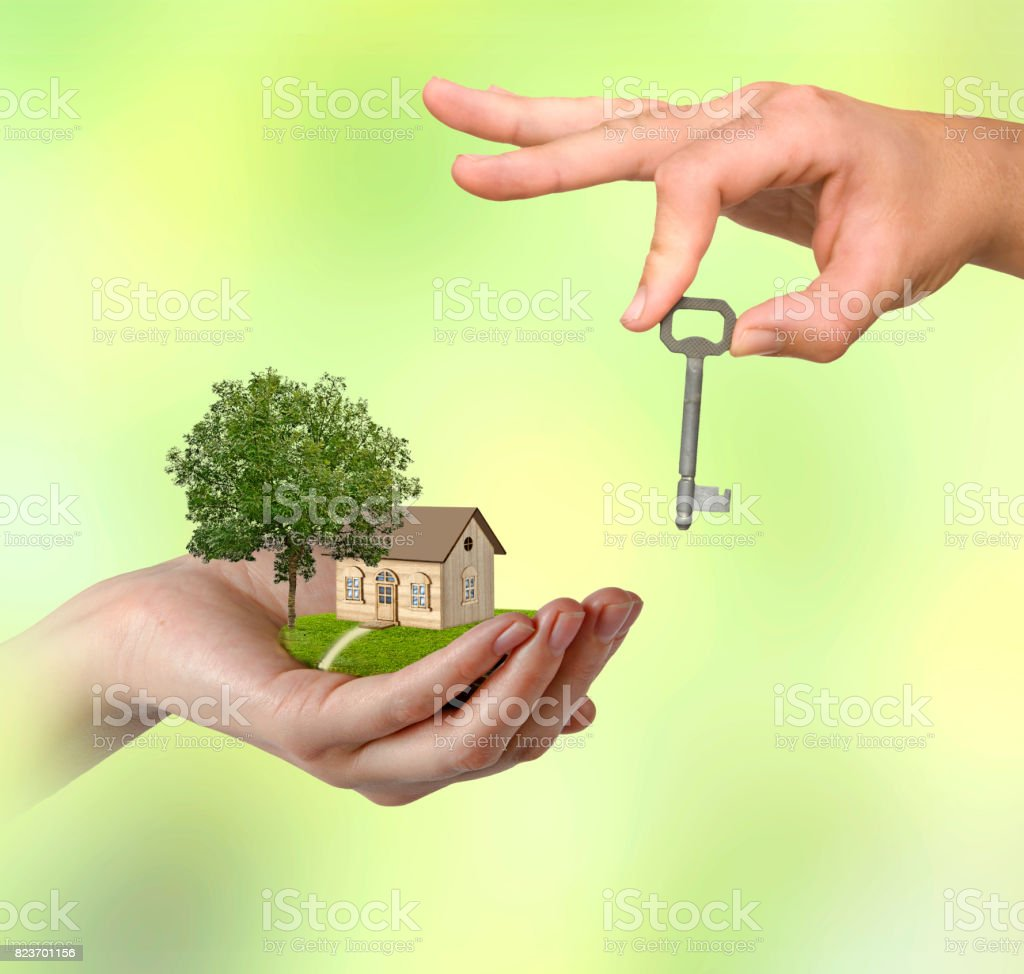 Hand with key stock photo