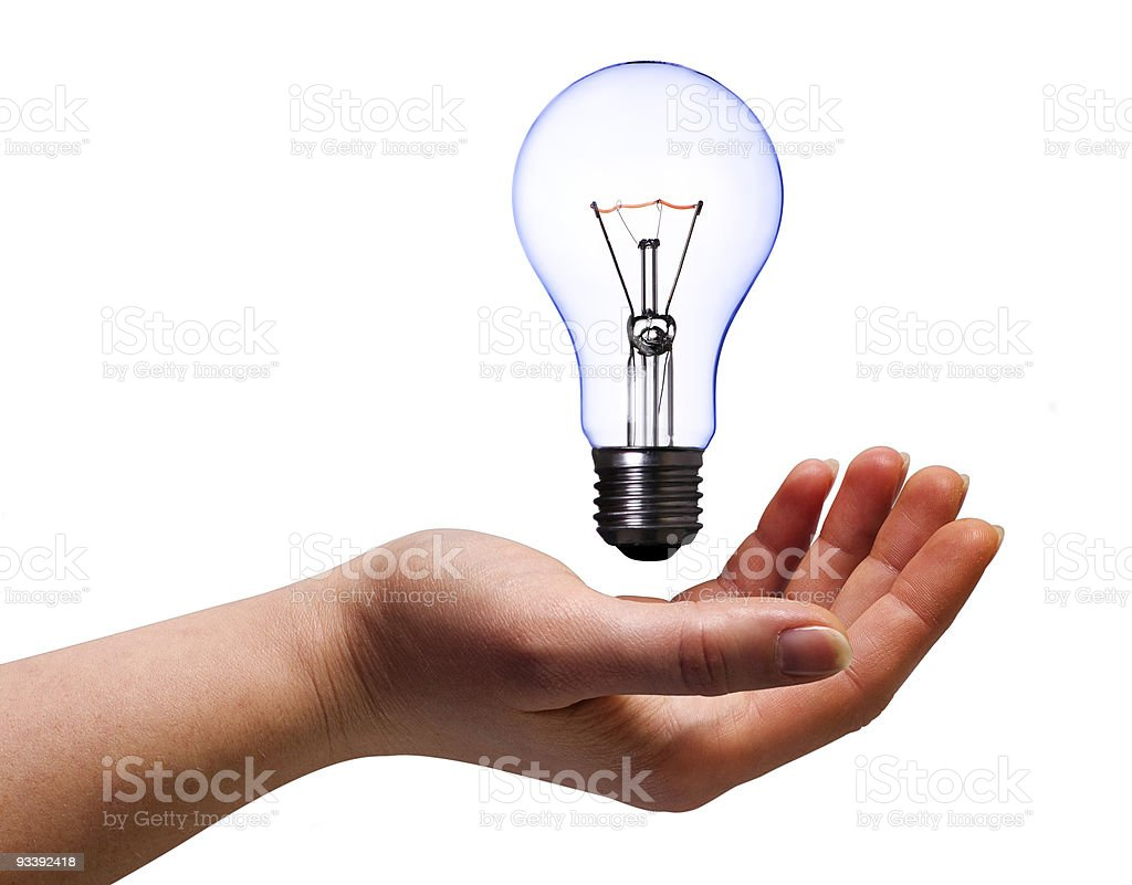 hand with lamp bulb royalty-free stock photo