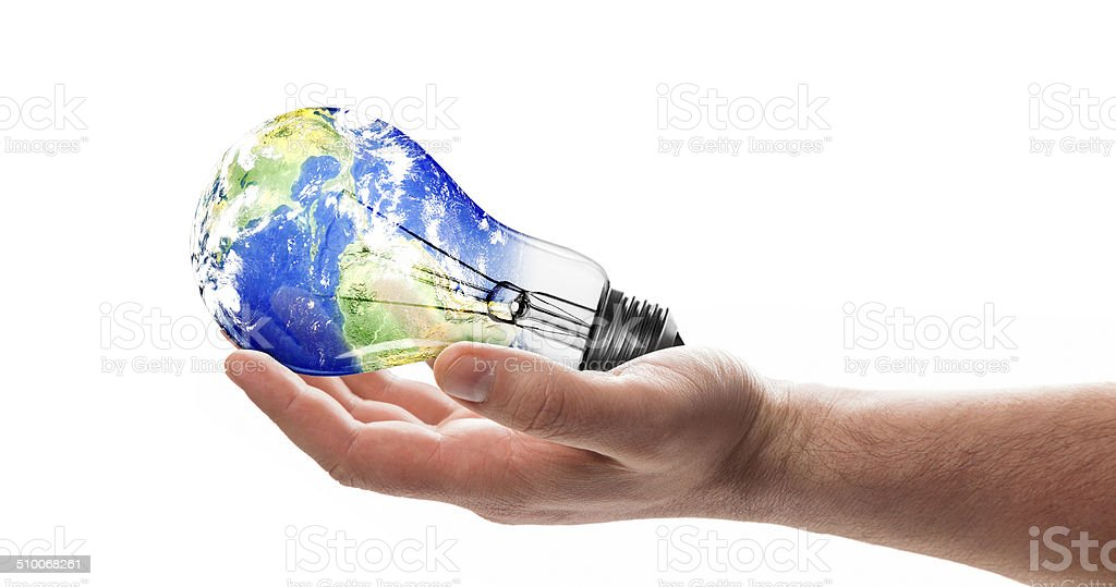 hand with light bulb stock photo