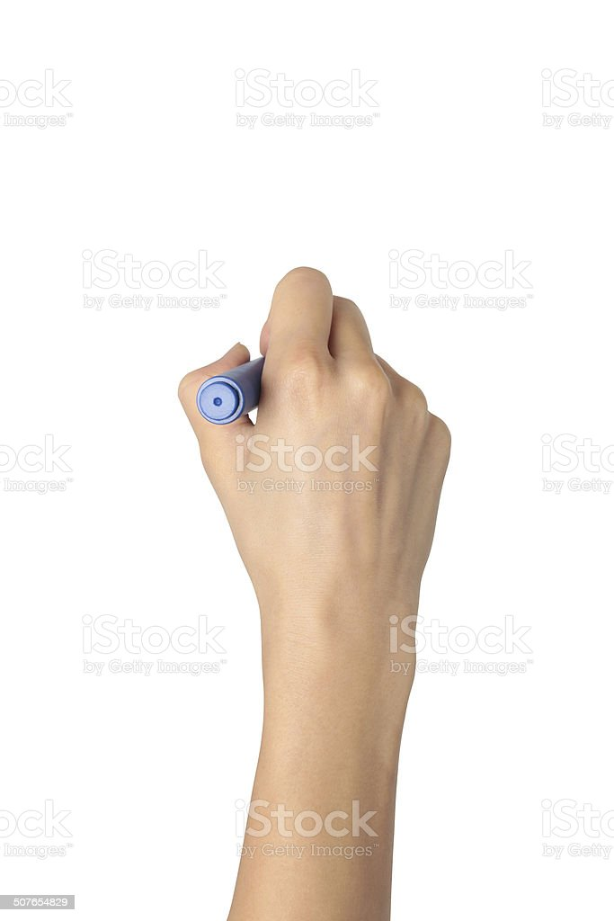 Hand with marker drawing isolated stock photo