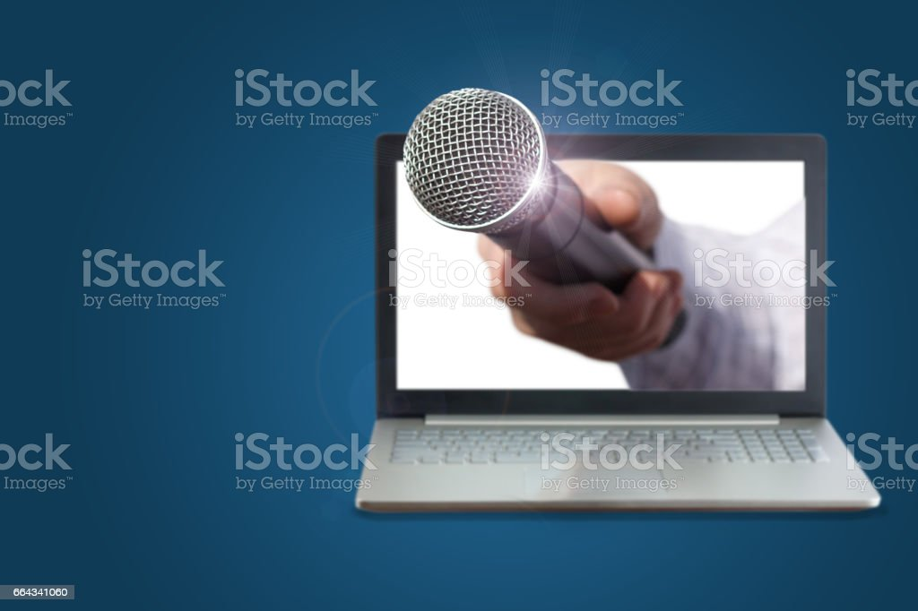Hand with microphone for interviews. stock photo