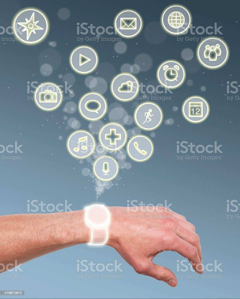 Hand with Mobile Smartwatch Apps Illustration stock photo