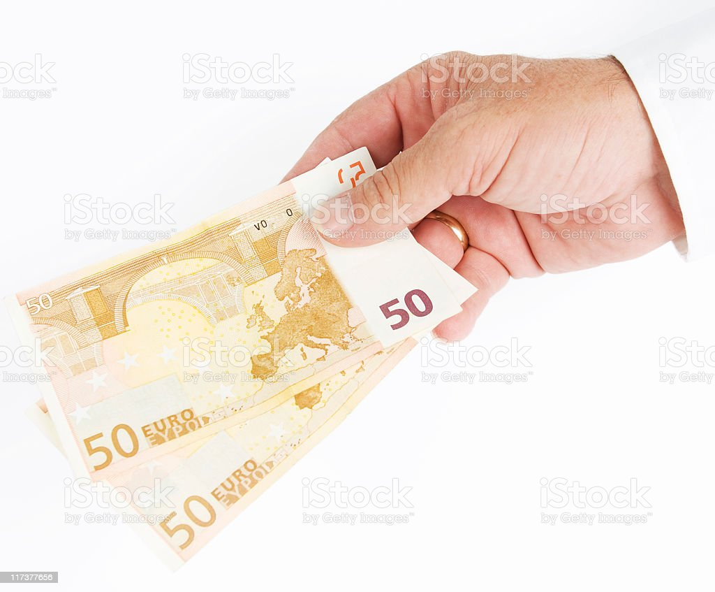 Hand with money. stock photo