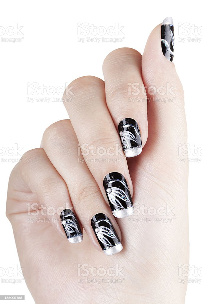 Hand with nail art stock photo