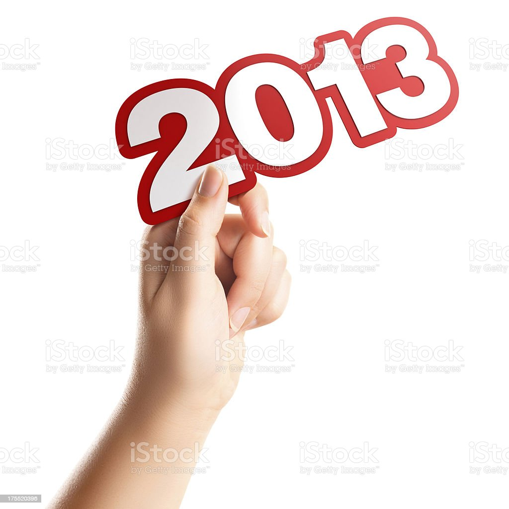 Hand with number 2013 stock photo