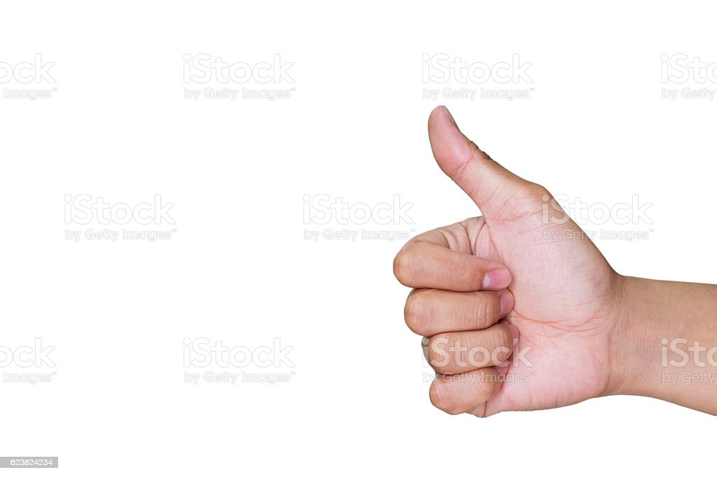 Hand with one thumb up mean superb stock photo