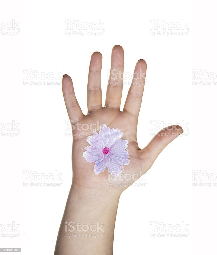Hand with painted flower royalty-free stock photo