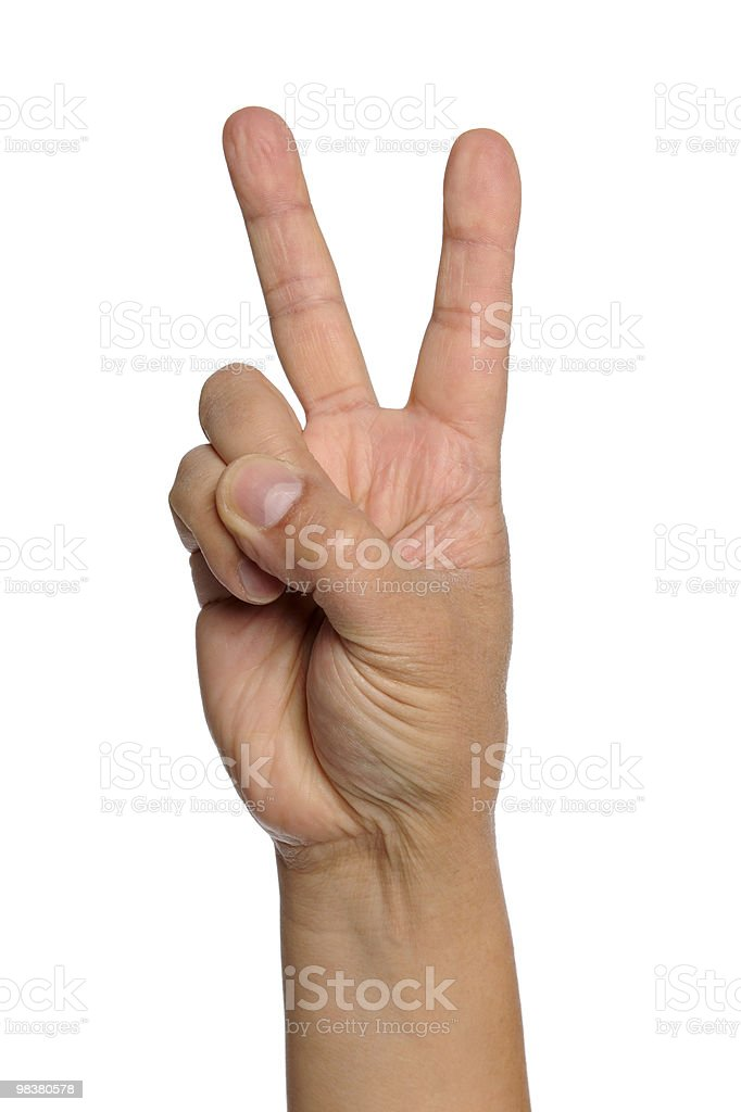Hand With Peace Sign royalty-free stock photo