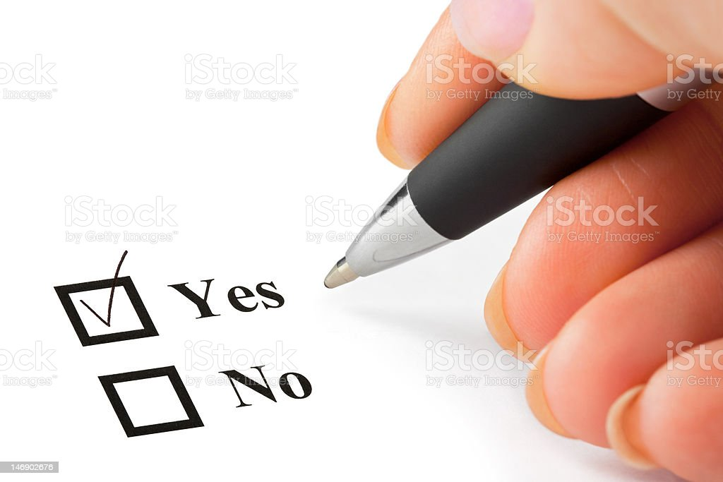 Hand with pen and check boxes royalty-free stock photo