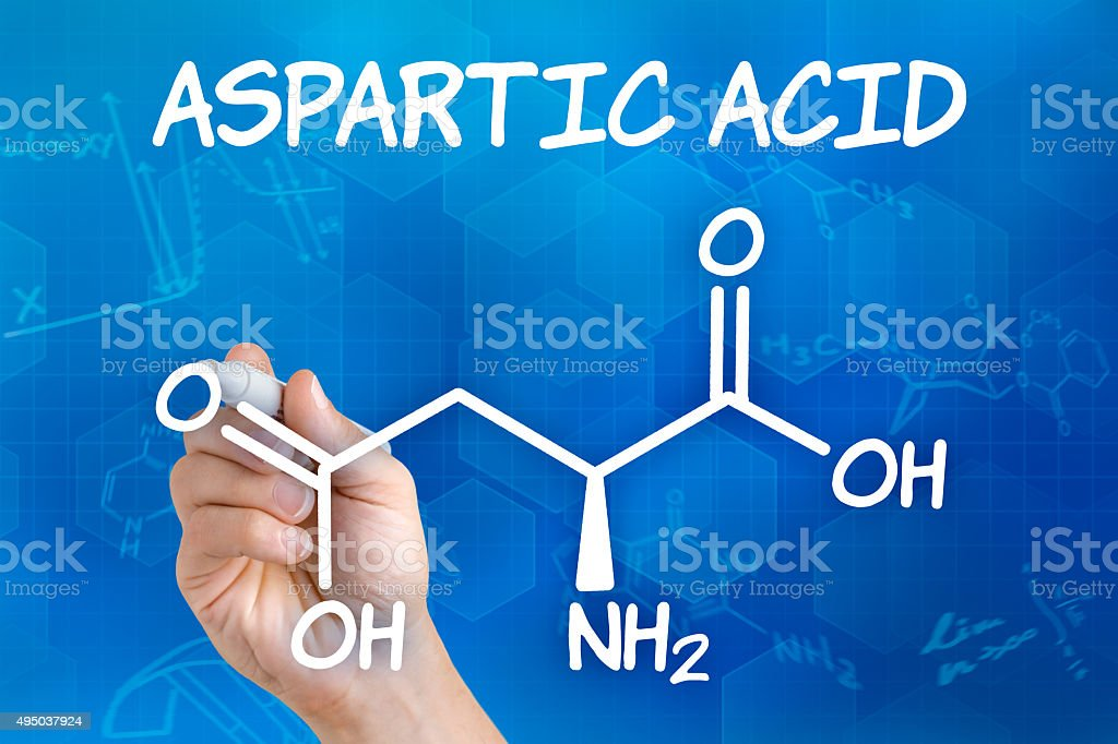 Hand with pen drawing the chemical formula of aspartic acid stock photo