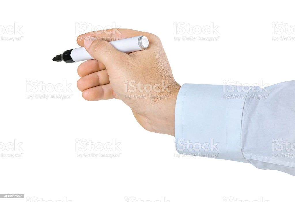 Hand with pen on a white background stock photo