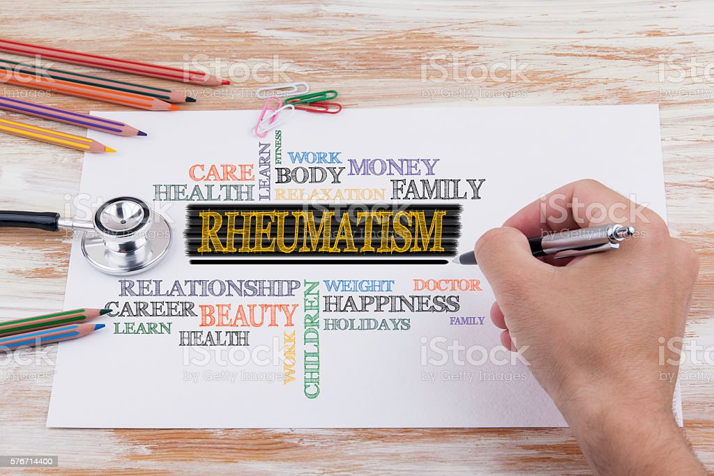 Hand with pen writing - Rheumatism stock photo