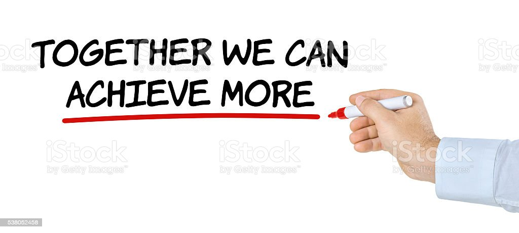 Hand with pen writing Together we can achieve more stock photo