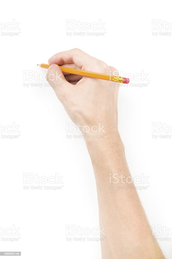 Hand with pencil writing something stock photo