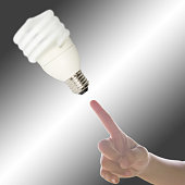 Hand with point to Light bulb