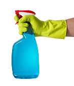 Hand with protective Glove using spray cleaner