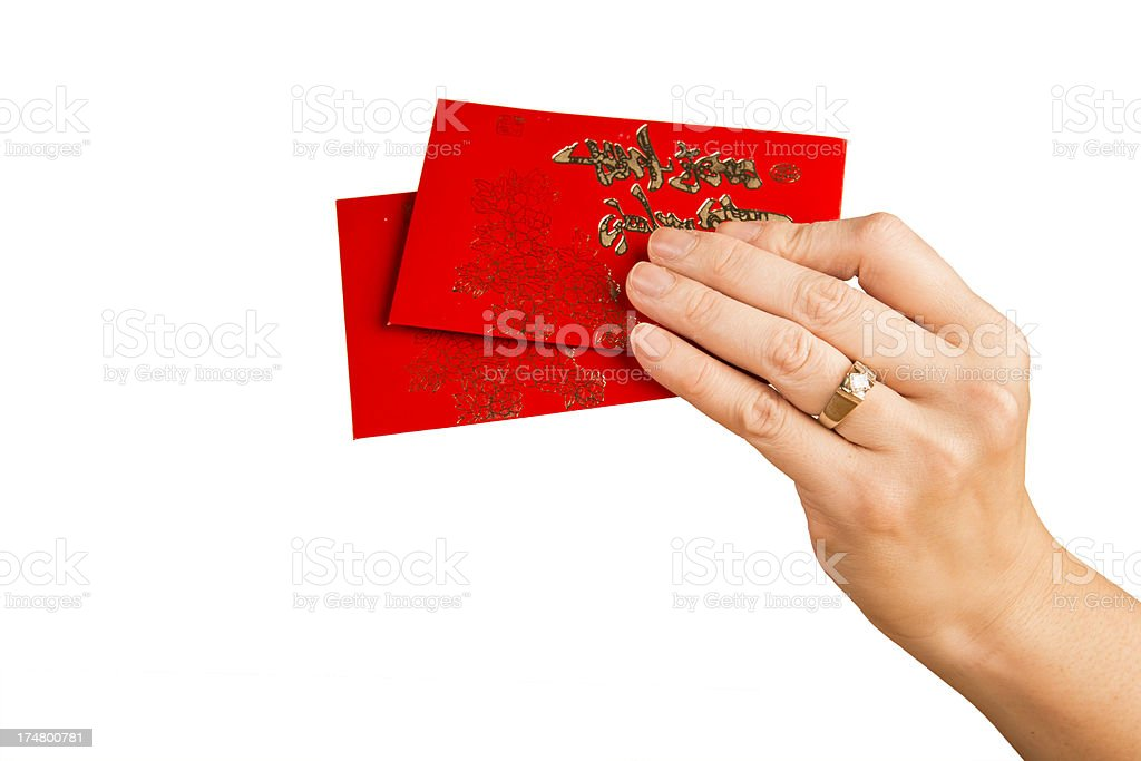 Hand With Red Envelopes stock photo