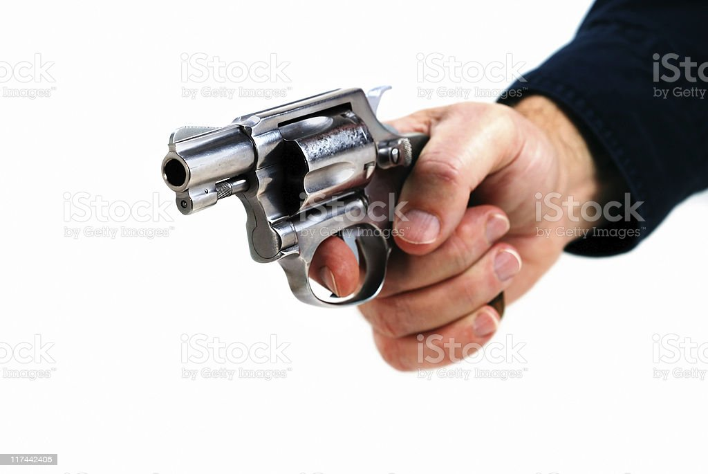 Hand with revolver stock photo