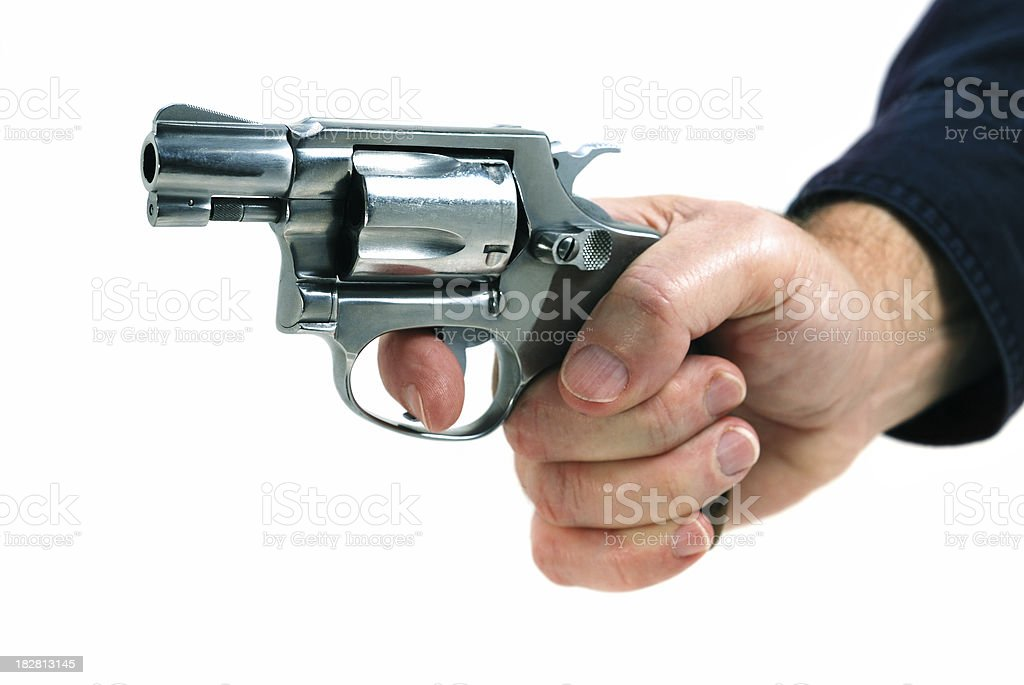 Hand with revolver royalty-free stock photo